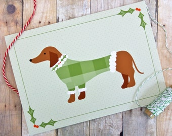 Sweater Dog Dachshund Holiday Christmas Card