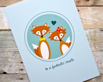 Fantastic Couple Fox Wedding, Engagement, Anniversary Card
