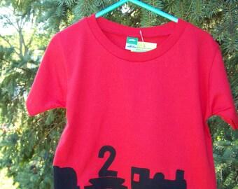 Train Birthday Tshirt Wrap Around Fabric Applique Baby Toddler 12 month 12m  2T 3T 4T