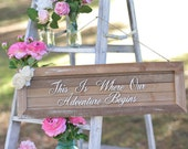 Rustic Wedding Sign This Is Where Our Adventure Begins Ceremony Sign Old Barn Wood NEW 2014 Design by Morgann Hill Designs