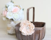 Rustic Flower Girl Basket Lace Rhinestones by Morgann Hill Designs