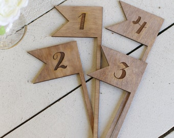 Rustic Table Numbers Flags NEW 2014 Design by Morgann Hill Designs
