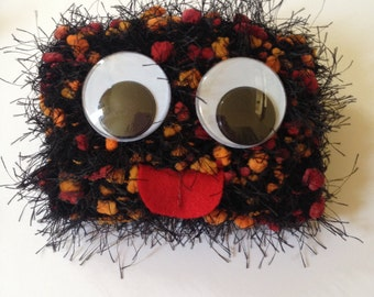 Knitted Mini Monster Purse/ Black, Orange, And Red Hand Knit And Fabric Lined Wallet/ Pouch/ Card Holder/ Handmade Coin Purse