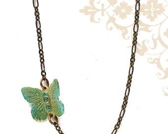 Brass Butterfly Necklace. Handmade Bohemian Style Necklace.