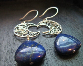 Sterling Silver Crescent Moon with Deep Blue Lapis - Dangle Earrings - Gifted to the Stylist of The Originals