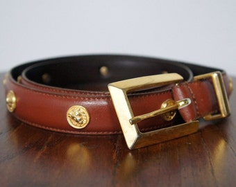 Vintage Belt Skinny Belt TAROX Italian Leather Cinch Belt Lions Head British Tan Size Medium
