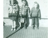 1960 Kids Ready For School With Lunch Box Boys Holding Hands Saddle Shoes Girl  Vintage Black White Photo Photograph