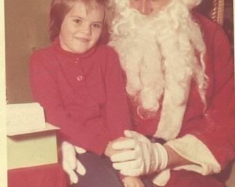 Shy Girl Sitting On Santa's Lap 1960s Christmas Santa Claus SC Vintage Color Photo Photograph