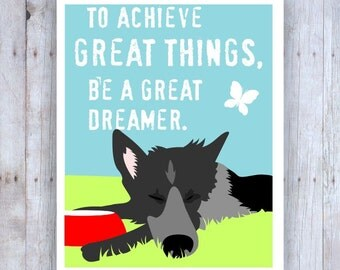 German Shepherd Art, German Shepherd Gift, German Shepherd Decor, German Shepherd Poster, German Sheperd Print, Inspirational Art, Dog Decor