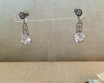 Vintage Open Back Crystal Earrings...Large Sparkling Drop Earrings...Wedding...Bridal