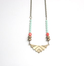 Bridesmaid Jewelry Mint, Coral, Gold Boho Strand Necklace // Tribal Necklace // Colorful Spring Summer Necklace