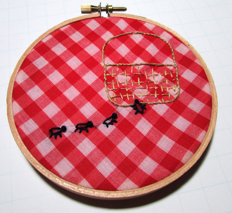 Embroidery hoop art vintage gingham fabric by abigailjayneart