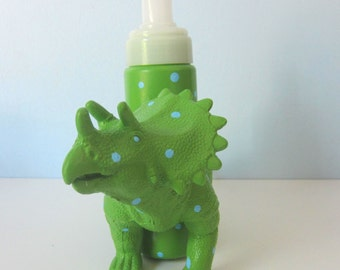 Upcycled Foaming Soap Dispenser -  Green Triceratops Dino with Blue Polka Dots