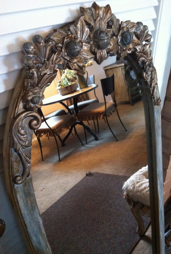 French Blue Amp Antique Bronze Full Length Oval Mirror