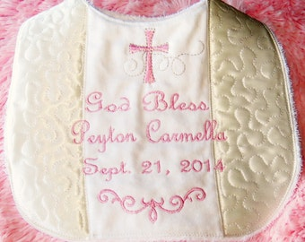 Christening bib customized and personalized