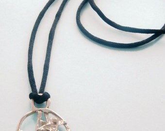 """925 St Silver Birdcage Pendant on 30"""" Silk Cord Necklace"""