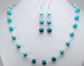 Necklace and Earring Set - Shades of Blue Glass Pearls with Silver - Aqua - Teal - Ombre