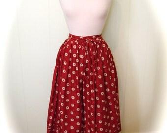 Vintage Skirt 50s style Circle Skirt - Dot Circle skirt - Merlot with White Eyeball Full Skirt - on sale