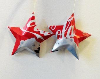 Polar Bear Coke Stars, Christmas Ornaments, Snow Bear, ,Soda Can , Upcycled Coca Cola