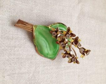 Lily of the Valley Brooch Enamel Rhinestones