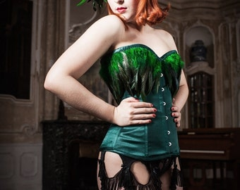 Bespoke Emerald Green Corset with Feathers Burlesque Available in Black and Red