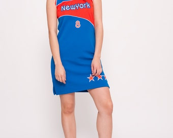 Vintage Red and Blue Jersey Dress