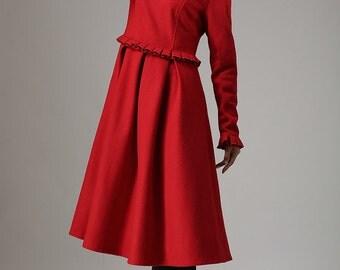 Red wool dress winter dress maxi dress (741)