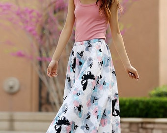 long skirt, butterfly skirt,print skirt,linen skirt, A line skirt,Full skirt, elastic skirt, womens skirts,custom skirt, plus size skirt 957