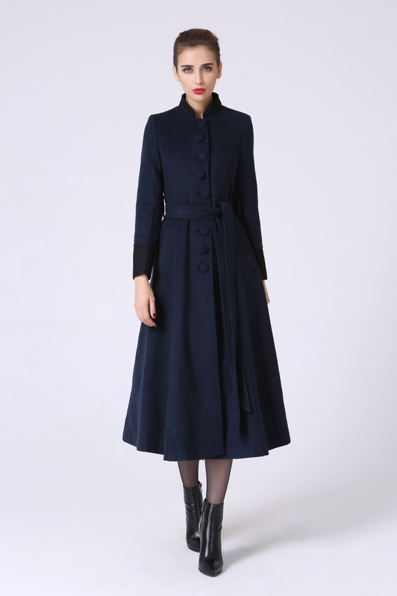 long trench coat navy coat elegant coat wool coat warm