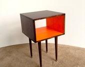 The Side Table...Mid Century Modern Side Table Chocolate and Orange / Furniture Midcentury Bed Side Table End Table