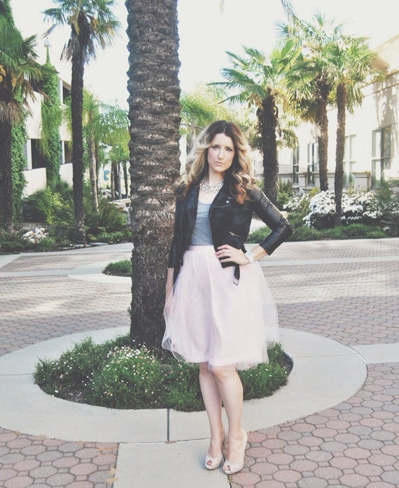 Pastel Pink/Blush Tulle Skirt Tutu Knee length Length/Midi Street Style