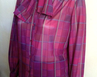 Vintage Women's 80's Blouse, Fuchsia, Polyester, Bow Tie by Teddi of Ca. 3503 (L)