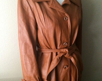 Vintage Women's 80's Leather Jacket, Light Brown, Full Length, Coat (M/L)