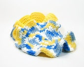 Cotton Crochet Dish Cloth, Round Hyperbolic Dishcloth, Blue Yellow Set of 3, Cotton Spa Cloths, Eco Friendly Cleaning, Kitchen Shower Gift