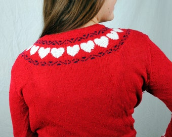 Best Vintage 80s Love Heart Knit Sweater
