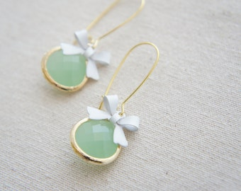 mint green and white bow gold earrings - kidney ear wire, bridal, wedding, gift