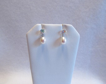Freshwater Pearl Drops with Aurora Topaz Studs