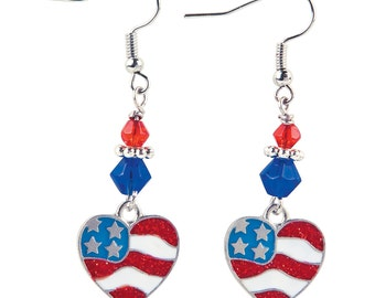 Patriotic American Flag Red White and Blue Dangle Earrings