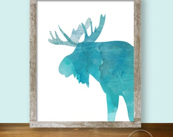 Turquoise Moose Watercolor Silhouette Printable Art 8x10