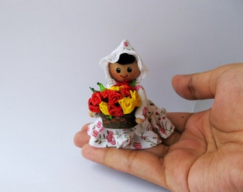 Miniature doll ornament - Miniature flower seller - OOAK handmade collectible Doll
