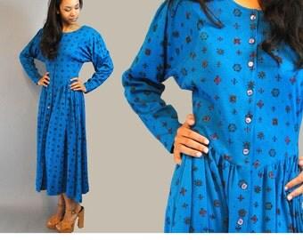 Vintage 80s Dress Drop Waist Full Skirt Maxi Dress Long Taper Dolman Sleeves Turquoise Blue Tribal Print Maxi Dress M
