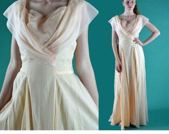 Vintage 60s Dress Evening Maxi Dress EMMA DOMB Sheer Ball Gown Sleeveless Alternative Wedding Dress Ice Pink Couture Party Dress M / Medium