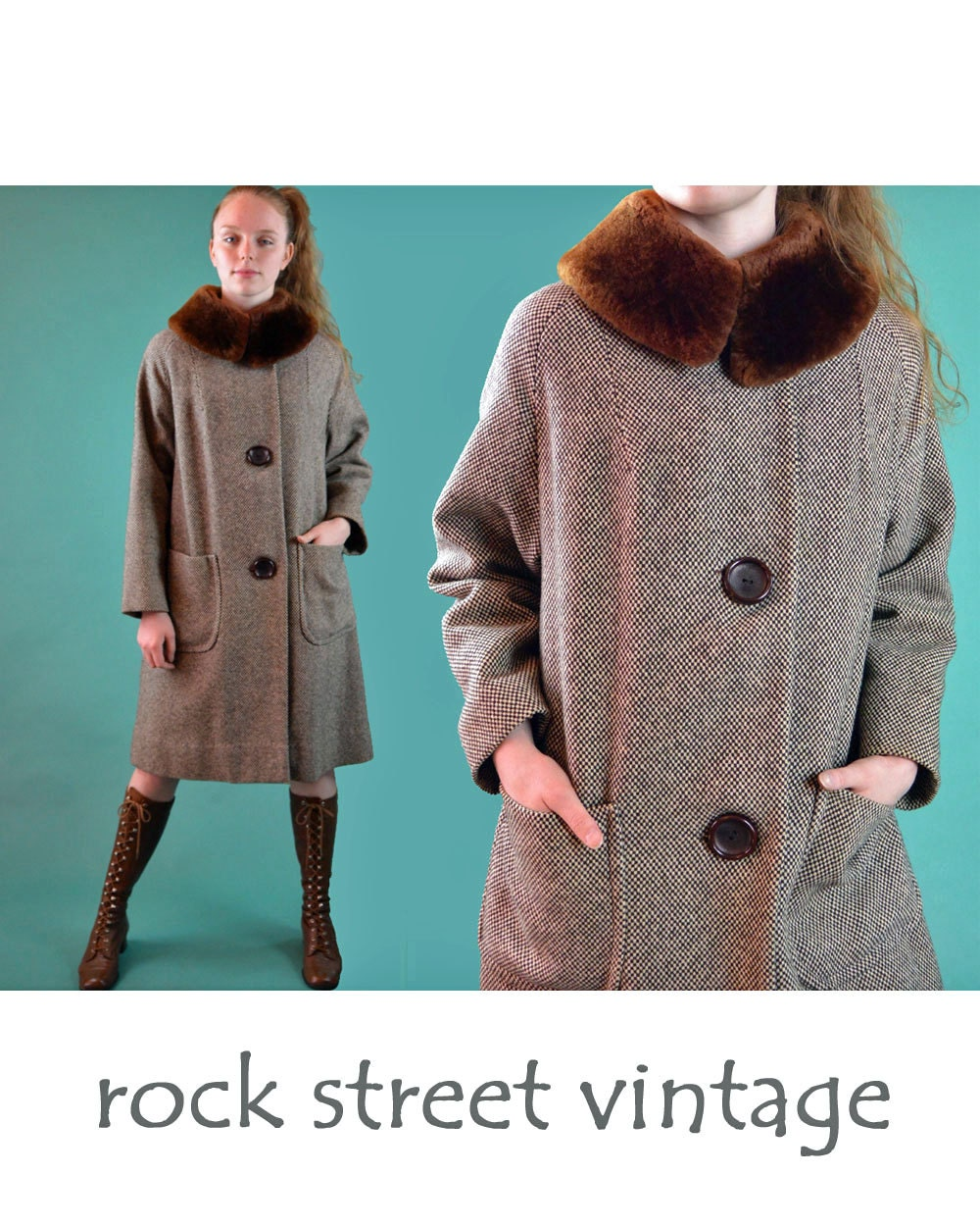 50s Womens Vintage Wool Coat Mouton Fur Collar Swing Coat