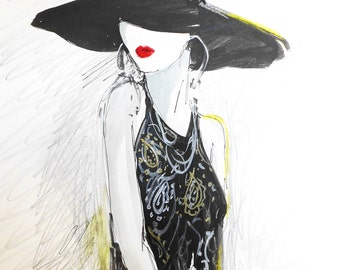 Black Hat.  Limted Edition Print By artist Ros Webb