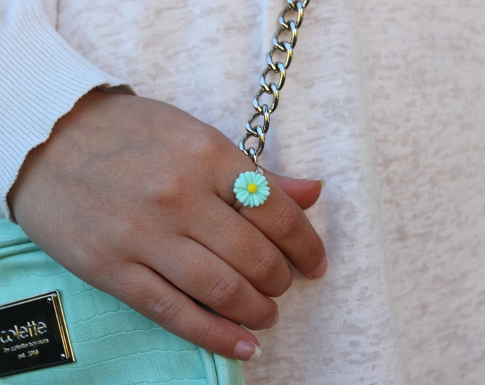 Turquoise Adjustable Daisy Ring.