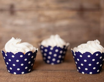 24 Navy Blue Polka Dot Cupcake Wrappers - Naby Blue Cupcake Wrappers - Great for Birthday Parties, Baby Showers & Bridal Showers