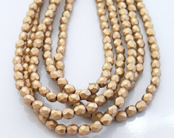 Matte Satin Gold, Czech Beads Fire Polished 4mm 50 Faceted Round GLass