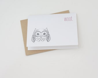 WOOT Owl Modern Funny Greeting Card