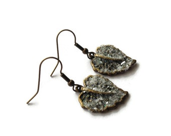 """Metal Earrings, Leaf, Dipped, Snow Topped, Glitter, Bronze, Winter. 1.5"""", Speck, Fleck, White, Sparkle, Antiqued, Brown, Cafe, Nature"""