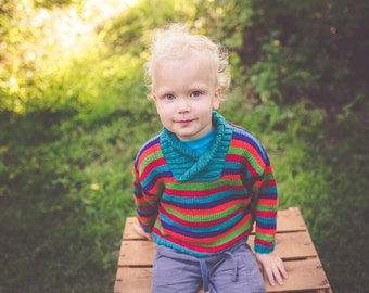 Boy's Baby Sweater -- Red, Purple, Orange, Green, and Blue-green Striped -- RESERVOIR ROAD -- Classic Kids Pullover